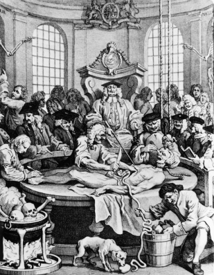18th century caricature of a dissection lesson.